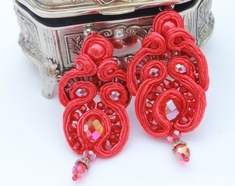 Valentine gift Red big long soutache earrings, Colorful Earrings, Oriental Earrings Dangle Earrings, mothers day gift birthday gifts for her