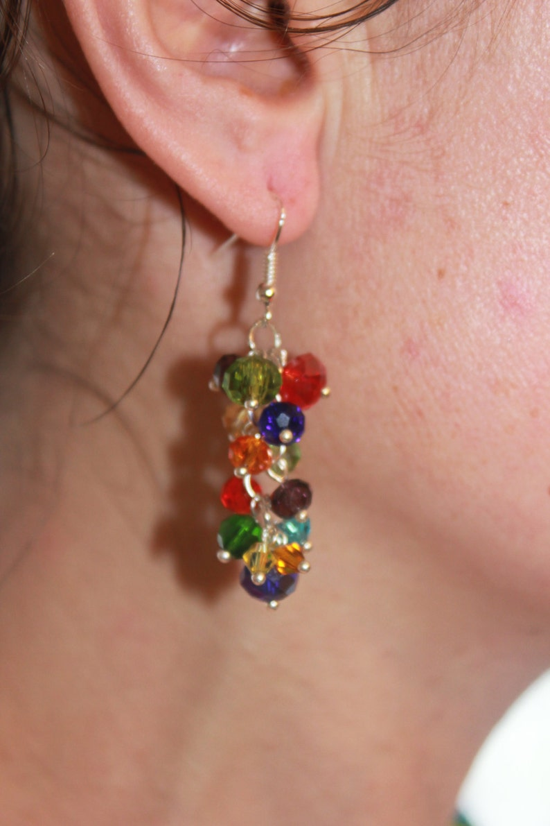 Rainbow summer jewelry,cluster bridesmaid earrings,pride earrings long,cluster earrings drop,elegant classy earrings,rainbow party accessory