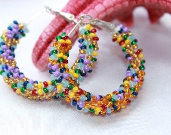 multicolored hoop earrings beaded~Native American midi hoops~girlfriend gift earrings, bridal shower gift, lesbian jewelry, lesbian earrings