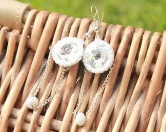 dangling earrings wedding earrings gift for her chain earrings gift for women swarovski earrings graduation gift chic earrings white wedding