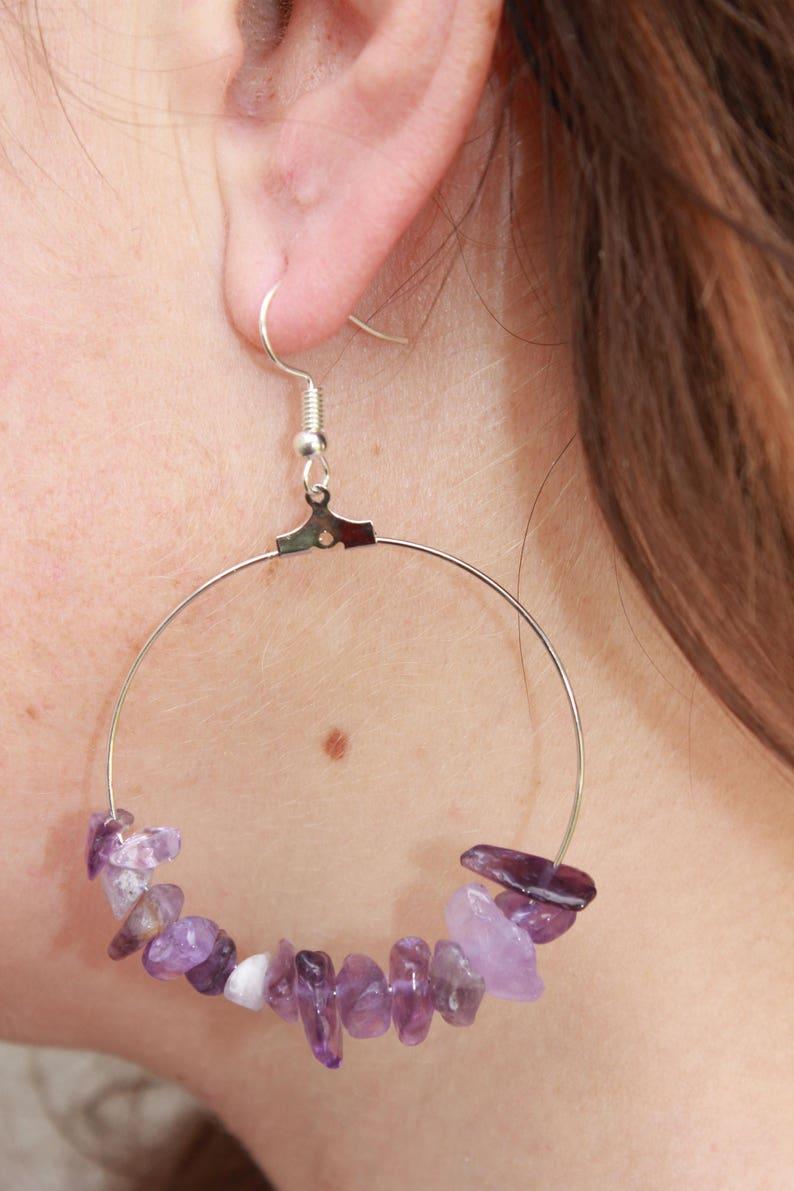 Amethyst earrings Custom hoop earrings with Amethyst beads image 1