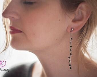 long chain stud earrings, statement green gold stone boho crystal earrings, Invisible Clip On Non Pierced handmade bead earrings for women