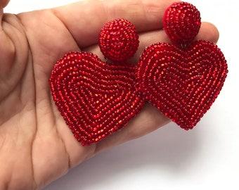 Valentines Day Red Beaded Heart Statement Earrings, best friend gifts, seed bead earrings heart, heart earrings dangle, anniversary gift her