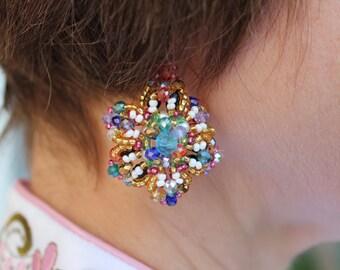 Colorful Earrings statement, bohemian rainbow earrings, rhinestone flower jewelry, bridesmaid party gift, summer earrings, Valentines gift