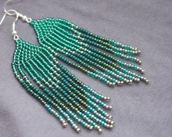 Emerald beaded earrings, Long earrings Fringe earrings, Ombre earrings Seed bead earrings, Chandelier earring Boho, beadwork earrings Dangle