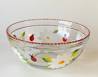 Colorful Upcycled Painted Glass Bowl