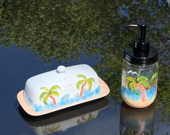 Painted butter dish or soap dispenser, ocean scene, covered butter dish with lid, soap dish, tropical  scene, dish soap dispenser, mom gift