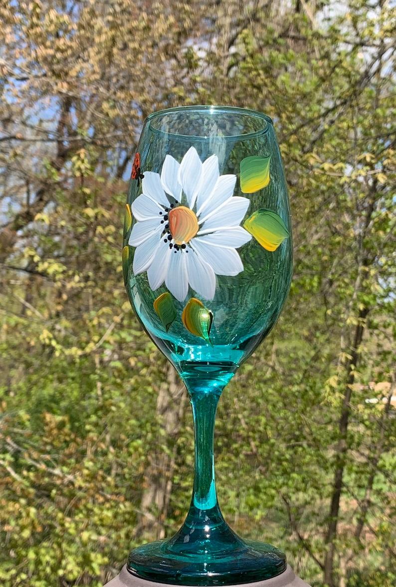 summer wine glass wine wedding gift. white wine glass wine goblet Hand painted wine glasses with daisies and a cute ladybug