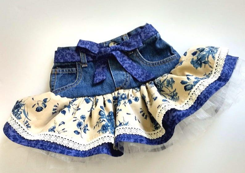 19b9bc20ea 2T denim jean tutu skirt. Navy floral ruffles and lace. | Etsy