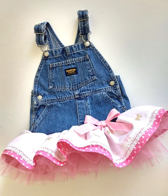 c55093e993 18M overall tutu dress with polka dots and bows. Denim jumper.