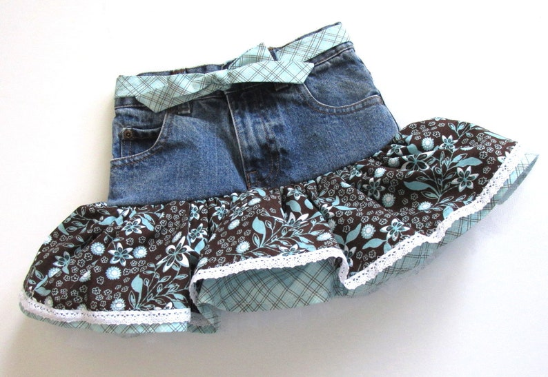 36411e4a7c Size 6 slim girls denim jean tutu skirt. Choclolate brown and | Etsy