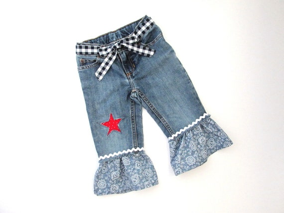 BOHO jeans Toddler Hippie Frayed Bell Bottom Jeans