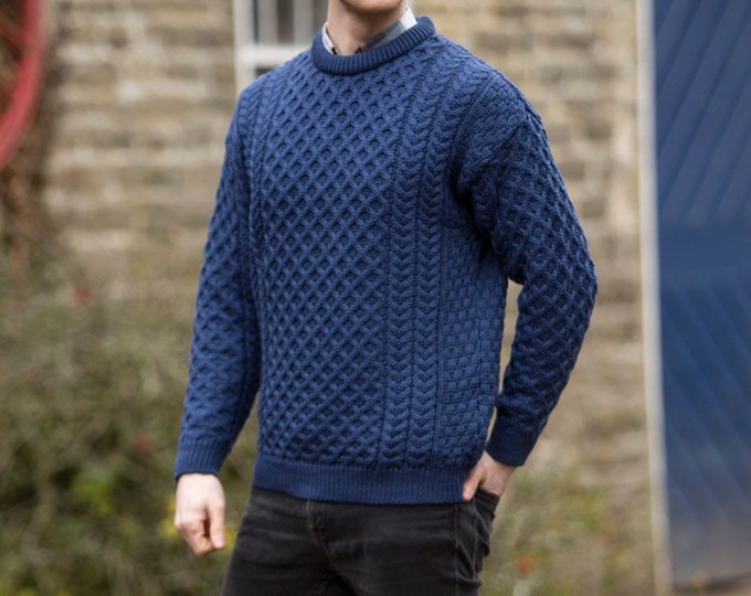 Irish Fisherman Sweater - 100% Soft Merino Wool - Aran Island Pattern - blue color