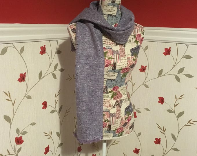 Wool Scarf Shawl - Irish Tweed - UNISEX scarf - Womans - mens - 100% wool - Soft - light purple