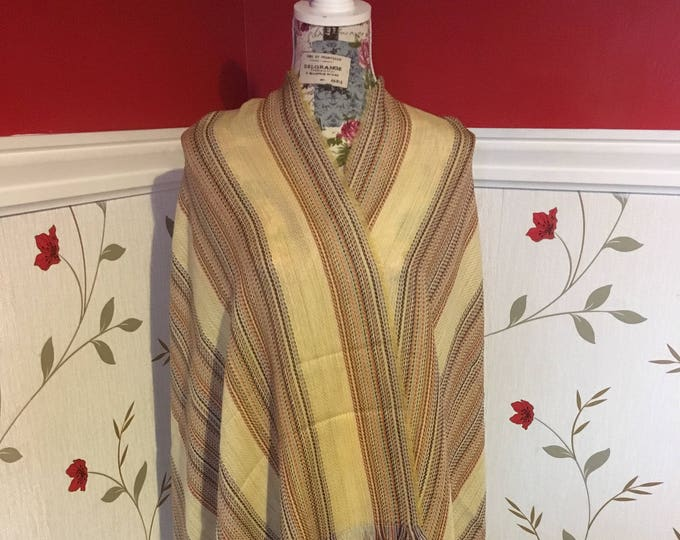 Irish Shawl - Celtic Wrap - Stole - 100% Wool - MultiColor Stripe with Yellow - Merino Wool with Cashmere