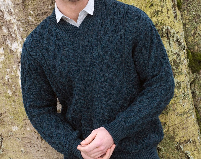 V NECK IRISH SWEATER - 100% Soft Merino Wool - Aran Island Pattern