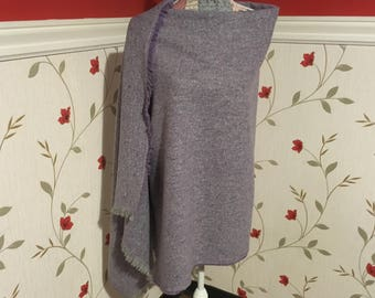 Irish Shawl - Celtic Wrap - Stole - 100%Wool - Perfect throw over for cooler evenings - Light Purple Tweed Wool