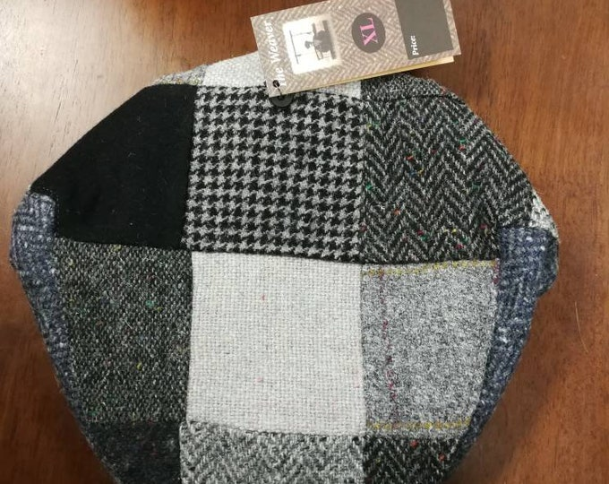 size X L, Irish Tweed Patchwork Flat Cap With Gray -Paddy Cap - Tweed Cap - Drivers Cap - Golf Cap - FREE WORLDWIDE SHIPPING