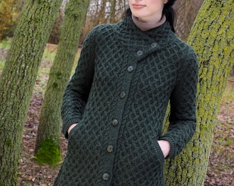 Irish Aran Coatigan with stylish Button Collar - 100% Merino Wool - Irish contemporary design used Heritage Patterns from the Aran Islands