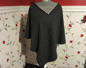 Two Tone Wool Poncho -100% Wool - 2 styles can be worn 2 ways - Size S to M up to 5ft 6 in height ladies