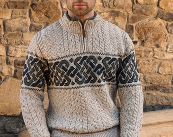 Irish Sweater - Half Zip Celtic Irish Sweater - 100% Soft Merino Wool - Made in Ireland