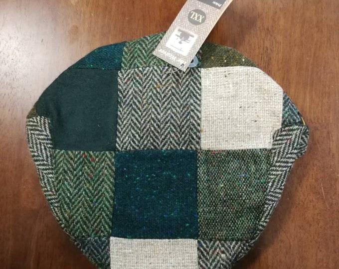 Size X X L, Irish Tweed Patchwork Flat Cap With green -Paddy Cap - Tweed Cap - Drivers Cap - Golf Cap - FREE WORLDWIDE SHIPPING