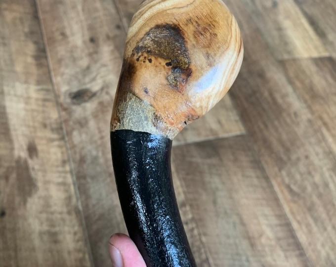 35 1/2 inch Rowan Tree Walking Stick - Irish Mountain Ash - Shillelagh- hand carved- rustic amazing handle
