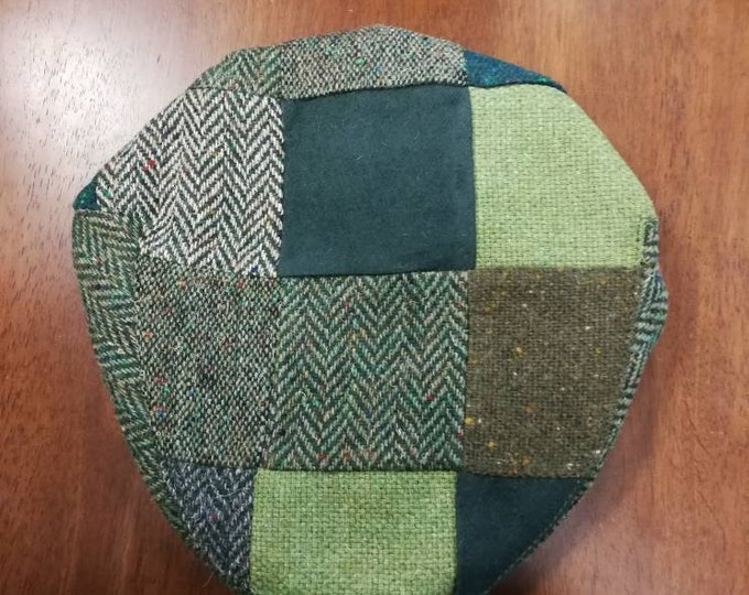Size M, Irish Tweed Patchwork Flat Cap With Green -Paddy Cap - Tweed Cap - Drivers Cap - Golf Cap - FREE SHIPPING