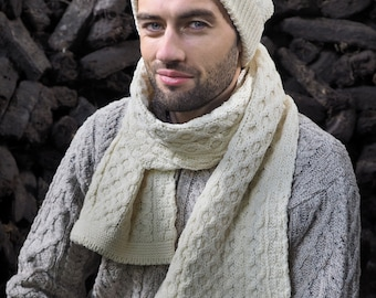 White 100% Wool Scarf - Irish Honeycomb Aran Stitch Pattern - Unisex Scarf