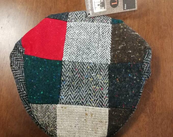 Size L , Irish Tweed Patchwork Flat Cap With Red -Paddy Cap - Tweed Cap - Drivers Cap - Golf Cap - FREE WORLDWIDE SHIPPING