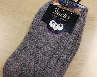 Wool Socks - Medium Size USA size 5 1/2-8 1/2 - 100% pure new wool - hiking socks, warm socks - unsex adult socks - Made in Ireland grey