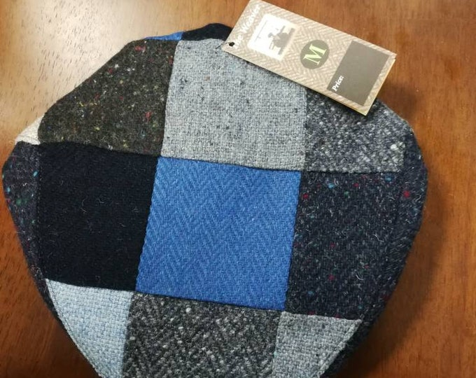 Size M, Irish Tweed Patchwork Flat Cap With Blue -Paddy Cap - Tweed Cap - Drivers Cap - Golf Cap - FREE SHIPPING