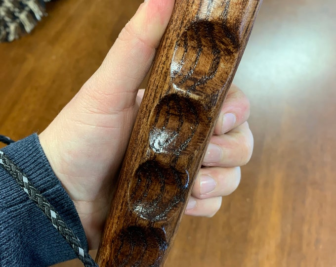 Irish Oak Hiking Staff pole  47 inch - Handmade in Ireland by me - beautiful  handle - stained sealed lightly scorched - heavy staff
