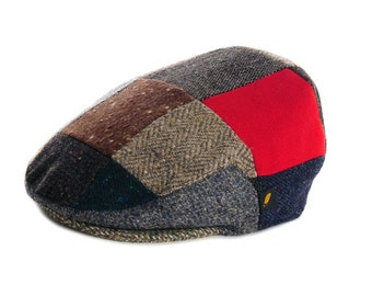 Authentic Irish Tweed Flat Cap - Random Patches with Red- 100% Donegal Tweed-  Paddy Cap - Drivers Cap - Golf Cap - FREE WORLDWIDE SHIPPING