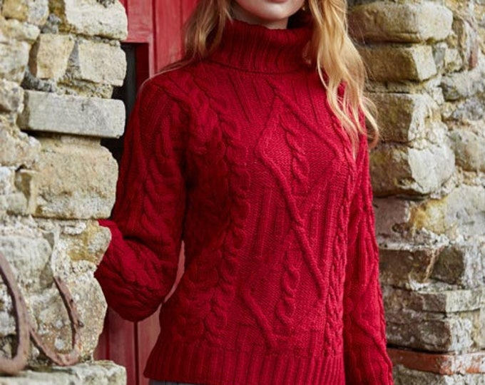Ladies Irish Sweater - Scarlet Red with Polo Neck - Aran Pattern - Fisherman Sweater - Extra Soft 100% Merino Wool