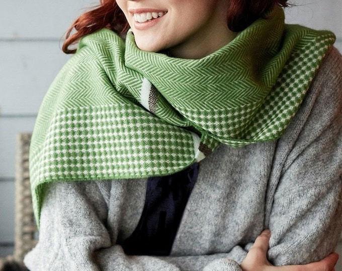 Green Herringbone Woven scarf