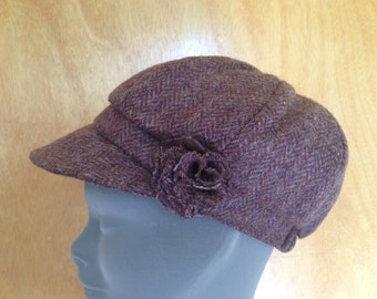 Ladies Newsboys Cap Hat - 100% Tweed Wool - Donegal Tweed Hats - Womens Irish Bakerboy Hats - Newsboy Cap - Plaid