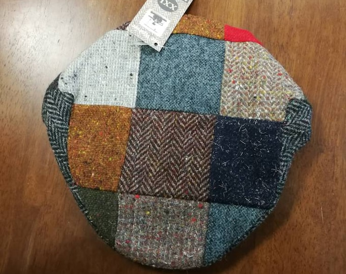 Size X X L, Irish Tweed Patchwork Flat Cap With red -Paddy Cap - Tweed Cap - Drivers Cap - Golf Cap - FREE WORLDWIDE SHIPPING