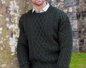 1ac5efa5b46cf9 Irish Fisherman Sweater - 100% Soft Merino Wool - Aran Island Pattern -  Army Green