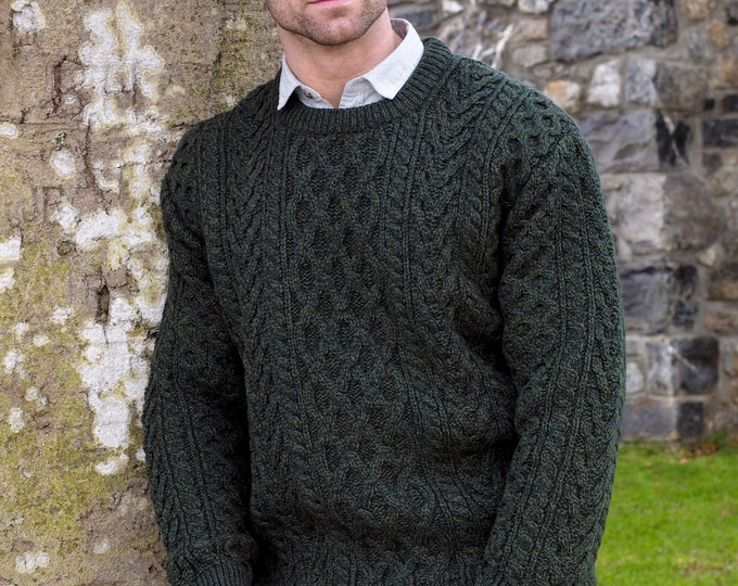 Irish Fisherman Sweater - 100% Soft Merino Wool - Aran Island Pattern - Army Green