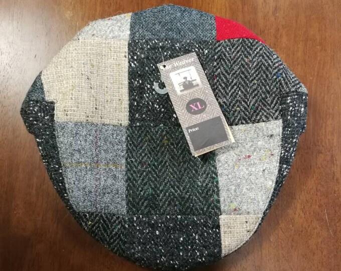 size X L, Irish Tweed Patchwork Flat Cap With red -Paddy Cap - Tweed Cap - Drivers Cap - Golf Cap - FREE WORLDWIDE SHIPPING