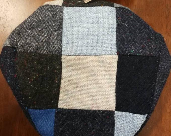 Size M, Irish Tweed Patchwork Flat Cap With Blue -Paddy Cap - Tweed Cap - Drivers Cap - Golf Cap - FREE SHIPPING