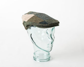 Irish Tweed Flat Cap - Random Patches with GREEN- 100% Donegal Tweed-  Paddy Cap - Drivers Cap - Golf Cap - FREE WORLDWIDE Shipping