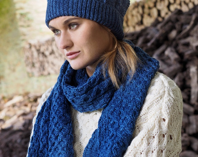 Blue 100% Wool Scarf - Irish Honeycomb Aran Stitch Pattern