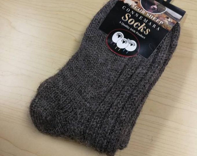 Wool Socks - Medium Size USA size 5 1/2 to 8 1/2- 100% Jacob Sheep Wool- hiking socks, warm socks - unsex socks Made in Ireland grey/brown