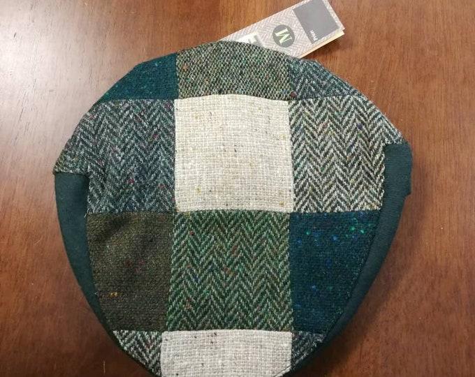 Size M, Irish Tweed Patchwork Flat Cap With Green -Paddy Cap - Tweed Cap - Drivers Cap - Golf Cap - FREE SHIPPING