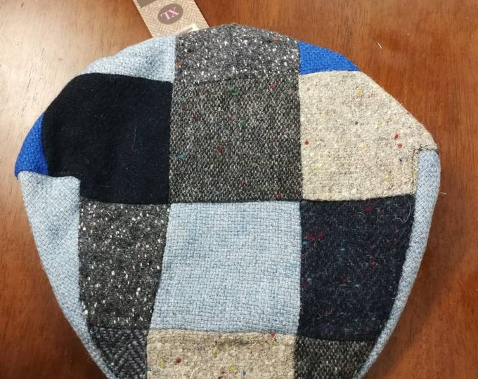 size X L, Irish Tweed Patchwork Flat Cap With blue -Paddy Cap - Tweed Cap - Drivers Cap - Golf Cap - FREE WORLDWIDE SHIPPING