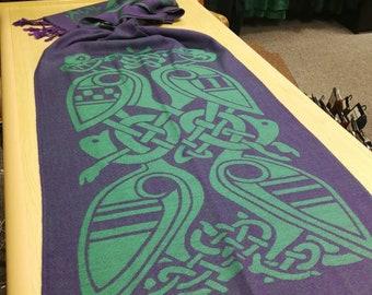 Purple & Green Celtic Scarf