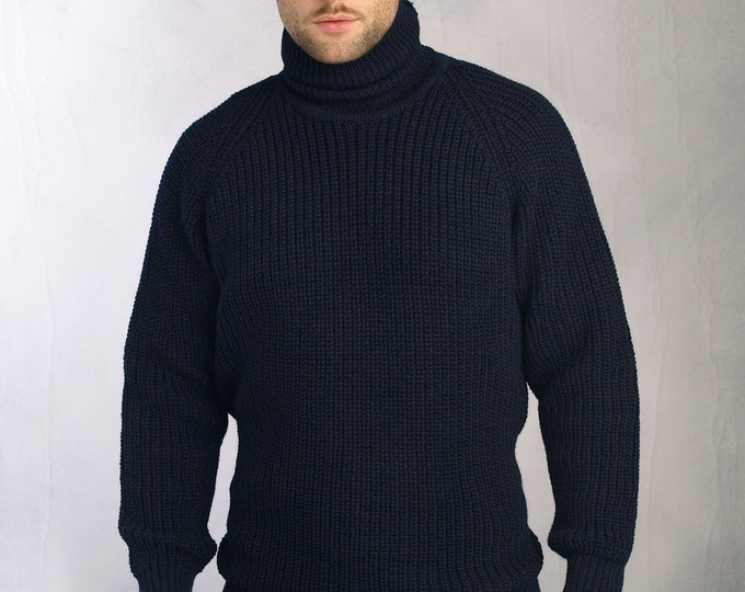 Navy Submarine style Sweater with Polo Neck - Ribbed Irish Stitch - Fisherman Sweater - 1960's Spy