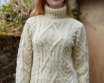 Ladies Irish Sweater - Aran White with Polo Neck - Aran Pattern - Fisherman Sweater - Extra Soft 100% Merino Wool